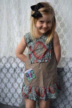 SIZE 3 Handmade upcycledrecycled girl/'s summer dress