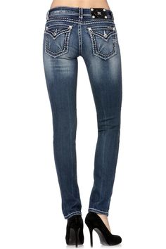 Miss Me DK 254 Skinny Jeans JS5014S100 Miss Mes, Miss Me Jeans, Jeans Pants, Blue Denim, What To Wear, Skinny Jeans, My Style, Clothes, Harley Davidson