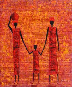 Africa  Water Carriers,  This painting on linen canvas is entirely hand made.