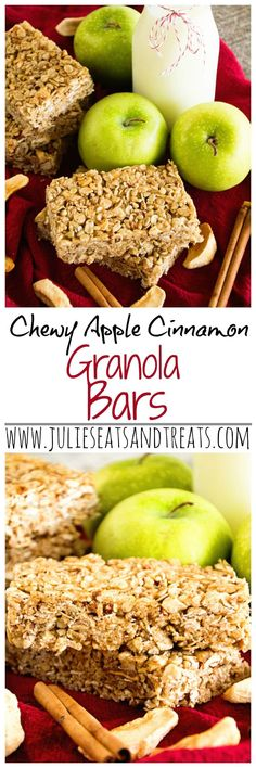 Chewy Cinnamon Apple Granola Bars ~ Soft, Chewy, Delicious Homemade Granola Bar Recipe Stuffed with Apples, Cinnamon, Oats, Pecans and Sunflower Seeds! ~ http://www.julieseatsandtreats.com