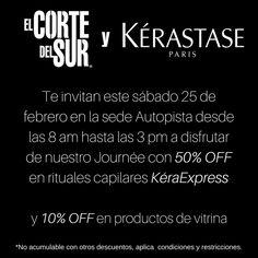 ¡Journée de Kérastase!  Disfruta #Sábado 25 de febrero en nuestra sede Autopista sur Calle 10 # 61A - 04 del 50% de descuento en todos nuestros rituales #KéraExpress  Y 10% de descuento en líneas #Kérastase de vitrina.  Visitanos, ¡Tenemos tiempo para ti!