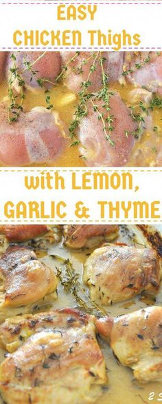 Chicken Thighs with Lemon, Garlic & Thyme - Chicken Recipes - Chicken Sandwich Garlic Chicken Thighs Recipe, Healthy Chicken Thigh Recipes, Chicken Thighs Dinner, Lemon Thyme Chicken, Chicken Thights Recipes, Roasted Chicken Thighs, Baked Chicken Recipes, Healthy Recipes, Chicken Recipes With Herbs