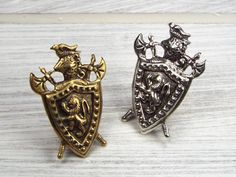 Medieval Knight Shield with Rampant Lion Men's Jewelry Tie Tack - Brass or Silver Plated by fripparie from fripparie. Visit http://ift.tt/1o0ATec for more awesome steampunk fantasy and goth jewelry and accessories.
