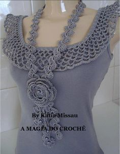 .crocheted on tank top & the necklace