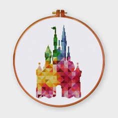 Geometric Castle cross stitch pattern Modern baby fantasy