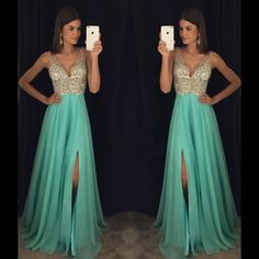 New Arrival Prom Dress,Modest Prom Dress,sparkly Crystal Beaded V Neck Open Back Long Chiffon Prom D on Luulla
