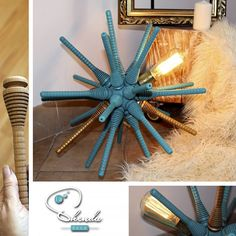 Sputnik or Sea urchin? Lamp created with upcycled spindles. Industrial Style Lamps, Sea Urchin, Handmade Products, Deco, Create, Instagram Posts, Art, Pop Of Color, The Originals