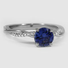 Platinum Sapphire Petite Twisted Vine Diamond Ring // Set with a 6mm Blue Round Sapphire #BrilliantEarth