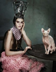"""stormtrooperfashion: """" Publication: Dansk Magazine Issue: Fall 2012 Title: Circus Humanus Model: Maria Bradley Photography: Aitken Jolly Styling: Anders Sølvsten Thomsen """" for some reasons…the cat. Editorial Photography, Fashion Photography, Fearless Photography, Gothic, Sphynx Cat, Foto Art, Jolie Photo, Glamour, Editorial Fashion"""