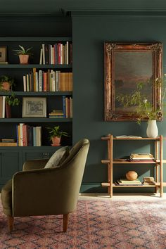 This color from Magnolia Home by Joanna Gaines® paint is a forest green hue that will bring your space to life. The mix of deep blue and jewel-tone green nicely complement warm accents and rich textures. Explore this color on our website. Sage Living Room, Magnolia Homes Paint, Interior Decorating, Interior Design, Home Decor Furniture, Great Rooms, Retro, Room Inspiration, Living Spaces