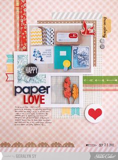 Paper Love *Main Kit Only* by qingmei at Studio Calico using our SOCK HOP scrapbook kit