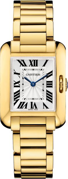 Tank Anglaise watchSmall model, 18K yellow gold
