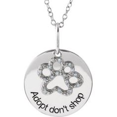 #Adopt don't shop silver Tender Voices® Diamond Paw Necklace get it at #OakRidgeJewelers