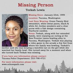 Teekah disappeared from a bowling alley where another child was allegedly assaulted. Are the cases related? Tacoma Washington, Amber Alert, Missing Persons, Cold Case, Looking For Someone, True Crime, Allegedly, Bowling, Flyers
