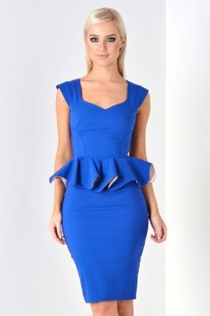 Linda Frill Peplum Pencil Dress in Royal Blue