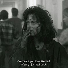 Veronica Sawyer is forever my post-bank-holiday-back-to-work mood . Veronica Sawyer is forever my post-bank-holiday-back-to-work mood . Movies Quotes, Film Quotes, Funny Movie Quotes, Funny Movie Scenes, Classic Movie Quotes, Cinema Quotes, Famous Movie Quotes, Humor Quotes, Funny Humor