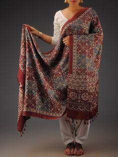 Buy Maroon Beige Indigo Gajji Silk Ajrakh Printed Dupatta By Jaypore Silken Imprints Dupattas from Kutch Online at Jaypore.com