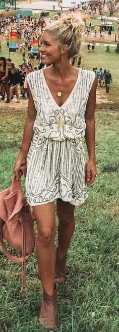 #winter #outfits beige and grey floral plunging sleeveless mini dress
