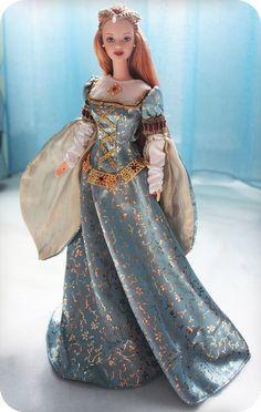 Barbie * krásné královské šaty z modrého brokátu se zlatým vzorem ♥