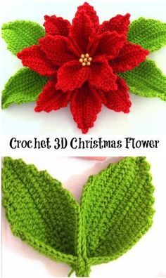 Discover thousands of images about Crochet Poinsettia Flower Free Pattern Video - Crochet Poinsettia Christmas Flower Free Patterns Crochet the Giant Rose Step by - Salvabrani This post was discovered by Luiza Ribeiro de Almeida. Discover (and save! Crochet Flower Tutorial, Crochet Flower Patterns, Crochet Motif, Crochet Flowers, Crochet Stitches, Knit Crochet, Crochet Ideas, Knitting Patterns, Crochet Christmas Decorations