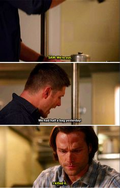11x14 The Vessel [gifset] - Sam killed the coffee that Dean needed.. XD - Sam and Dean Winchester; Supernatural