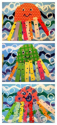 Colourful octopus scrap,paper craft project for kindergarten Easy Art For Kids, Crafts For Kids, Arts And Crafts, Paper Crafts, Kindergarten Art, Preschool Art, Tapas, Summer Crafts, Summer Art