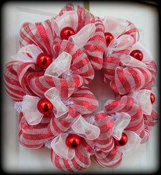 Christmas Mesh Wreath - Holiday Wreath - Holiday Door Decoration - Christmas Decor - Candy Stripe - Deco Mesh Wreath. $60.00, via Etsy.