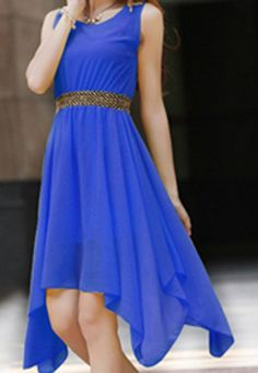 $9.11 Stylish Women's Scoop Neck Solid Color Studded Sleeveless Chiffon Dress