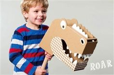 Roar comes straight from the geniouses at Flatout Frankie in Australia. Packed completely flat, and made of cardboard, he is super easy to put together (it only takes a few minutes). Decorate him and pop him on a broom or Swiffer.  Will your little one ride him through the swamp with crocodiles or search for dinosaurs? #easycraft #batteryfree