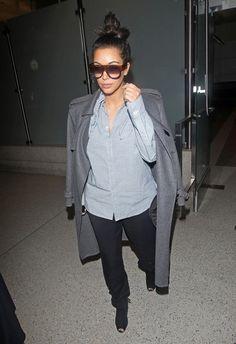 Kim Kardashian - Blue Pinstripe Blouse, Grey Trench & Black Pants