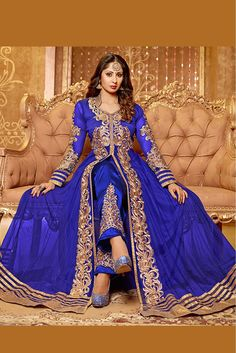 Blue Party wear Semi Stitched Net Anarkali Salwar Suit