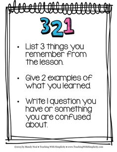 A formative assessment strategy 3-2-1