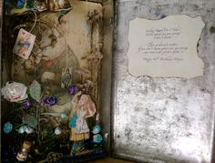 Alice in Wonderland Shadow Box in Vintage tin Altered Tins, Unusual Things, Tin Boxes, Shadow Box, Alice In Wonderland, Artist, Books, Vintage, Libros
