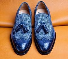 Men Shoes Blue Tassel Loafer Slippers Brogue Toe Premium Quality Tweed Leather sold by fineleather. Shop more products from fineleather on Storenvy, the home of independent small businesses all over the world. Nike Internationalist, Mens Fashion Shoes, Leather Fashion, Fashion Boots, Blue Shoes, Men's Shoes, Shoes Men, Marathon, Adidas Originals