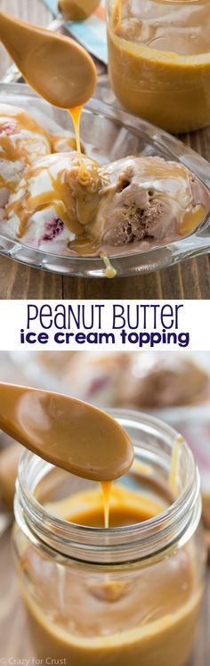 Peanut Butter Ice Cream Topping - OR NICECREAM topping ;-) - a fast and easy recipe for your ice cream sundaes! Just a few minutes to the best ice cream topping ever! Ice Cream Toppings, Ice Cream Desserts, Frozen Desserts, Ice Cream Recipes, Sundae Toppings, Sundae Bar, Frozen Treats, Peanut Butter Ice Cream, Peanut Butter Recipes
