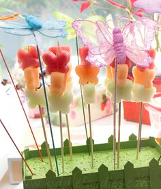 Sweet butterfly fruit skewers