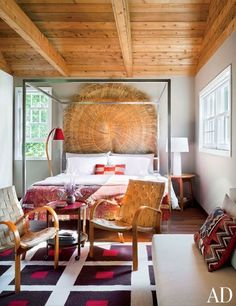natural fibers mixed with pops of color in the bedroom