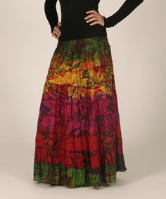 Take a look at this Red & Olive Floral Peasant Skirt by Aller Simplement on #zulily today! $22 !!