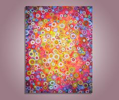 """Bright Summer Lights"""" Original Abstract Circles Painting 18x24"""" in Orange Pink Yellow Blue Circles Stretched Canvas. $300.00, via Etsy."""
