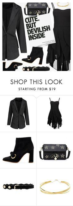 """""""Mission Monochrome: All-Black Outfit"""" by pokadoll ❤ liked on Polyvore featuring Rupert Sanderson, Patagonia, Lovers + Friends and Lana Jewelry"""