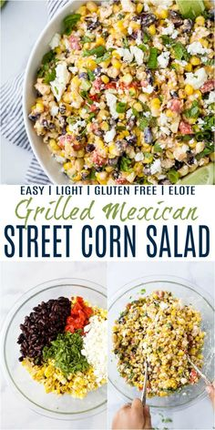 This Easy Mexican Street Corn Salad ade with grilled sweet corn, roasted red pepper, cojita cheese and a chili lime cream sauce this Mexican Street Corn Salad is bursting with tex-mex flavor in every bite! Mexican Corn Side Dish, Mexican Street Corn Salad, Healthy Mexican Sides, Corn Salad Recipes, Corn Salads, Sweet Corn Recipes, Mince Recipes, Recipes Dinner, Chicken Recipes