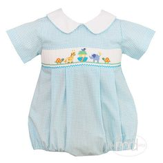 Petit Bebe Baby Boys Noahs Ark Turquoise Gingham Smocked Bubble from Madison-Drake Children's Boutique