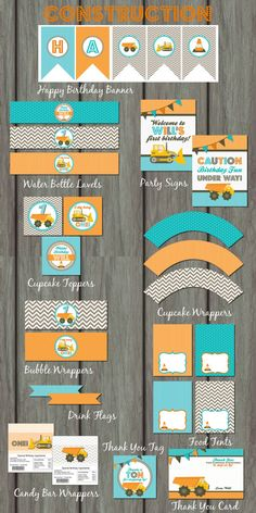 Construction Birthday Party Construction by PartyInvitesAndMore, $30.00