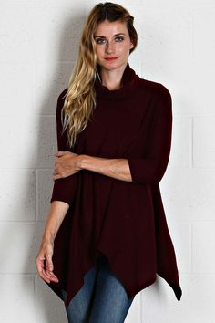 Solid Knit Cowl Neck Tunic