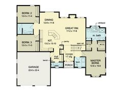 ePlans Ranch House Plan – Classy 3 Bedroom Ranch –1881 Square Feet and 3 Bedrooms from ePlans – House Plan Code HWEPL75953