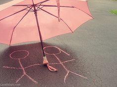 Pink Umbrella love cute photography rain pink couple people chalk umbrella stick