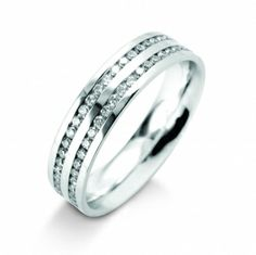 069a87394ea32b An unusual double row diamond set wedding band in 18ct white gold by  Domino. This