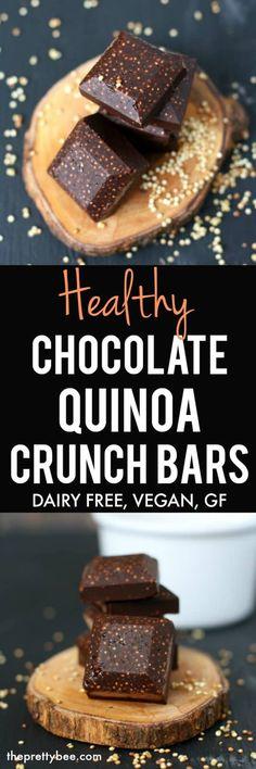 Free Chocolate Quinoa Crunch Bars Treat yourself to these healthy chocolate quinoa crunch bars! They're gluten free, dairy free, and vegan!Treat yourself to these healthy chocolate quinoa crunch bars! They're gluten free, dairy free, and vegan! Gluten Free Desserts, Dairy Free Recipes, Healthy Desserts, Vegan Recipes, Delicious Recipes, Beef Recipes, Healthy Foods, Dairy Free Chocolate, Chocolate Recipes