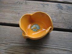 Tiny Ceramic Dish  #Orange and #Turquoise Small Bowl by WhiteCitrus  #ceramics #pottery