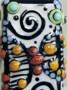Zentangle RectangleHandmade Lampwork Glass Bead by beadygirlbeads, $32.00